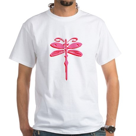 Pink Dragonfly White T-Shirt