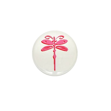 Pink Dragonfly Mini Button