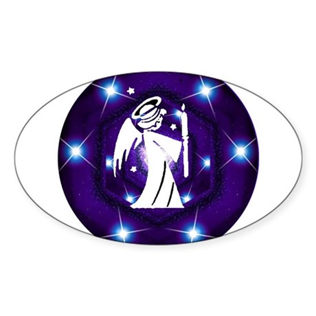Starry Night Angel Oval Sticker