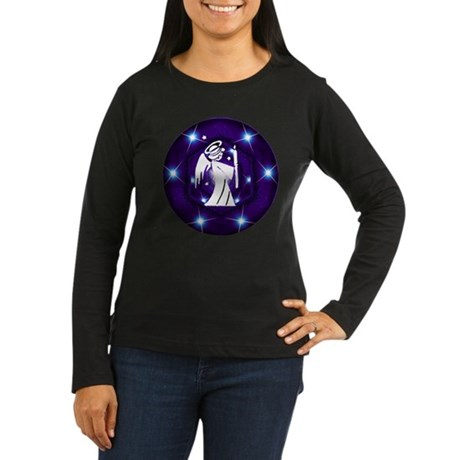 Starry Night Angel Women's Long Sleeve Dark T-Shir