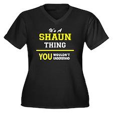 Cool Shaun Women's Plus Size V-Neck Dark T-Shirt