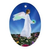 Birthday Aug. Angel : Oval Ornament
