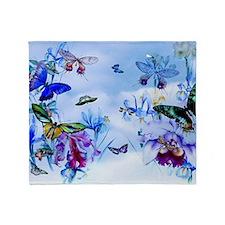 Take Flight Butterflies Orchids Throw Blanket