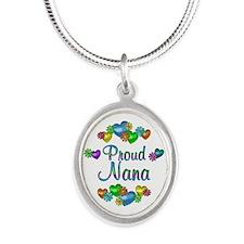 Proud Nana Silver Oval Necklace