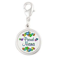 Proud Nana Silver Round Charm