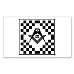 Masonic Tiles - Checkers Rectangle Sticker