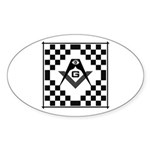 Masonic Tiles - Checkers Oval Sticker