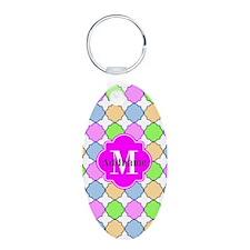 Monogrammed Bright Pink Qua Keychains