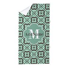 Gray and Mint Trellis Custom Monogram Beach Towel