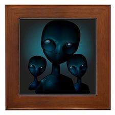 Friendly Blue Aliens Framed Tile