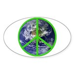 Earth Peace Symbol Oval Sticker
