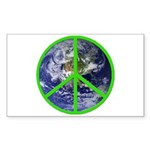 Earth Peace Symbol Rectangle Sticker