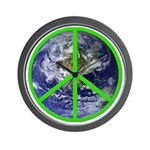 Earth Peace Symbol Wall Clock