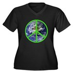Earth Peace Symbol Women's Plus Size V-Neck Dark T