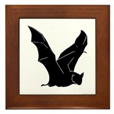 Flying Bat Silhouette Framed Tile