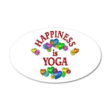 Happiness is Yoga 20x12 Oval Wall Decal