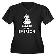 Cute Emerson Women's Plus Size V-Neck Dark T-Shirt
