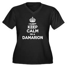 Funny Damarion Women's Plus Size V-Neck Dark T-Shirt