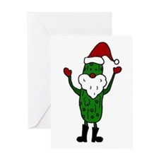 Funny Santa Claus Pickle Greeting Cards