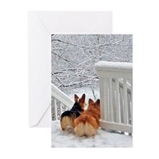 Corgis In Winter Greeting Cards