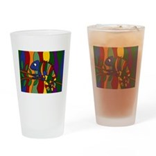 Colorful Chameleon Art Drinking Glass