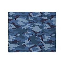 Blue Camo Pattern Throw Blanket