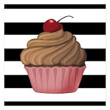 Cupcake on Stripes Invitations