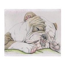 Sleepy English Bulldog Throw Blanket