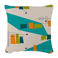 Mid-Century Modern Atomic Woven Throw Pillow