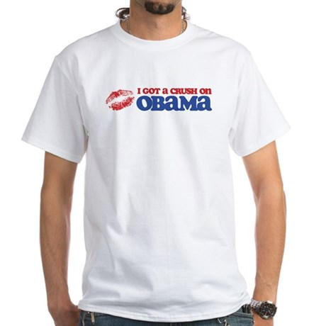I Got a Crush on Obama (Kiss) White T-Shirt