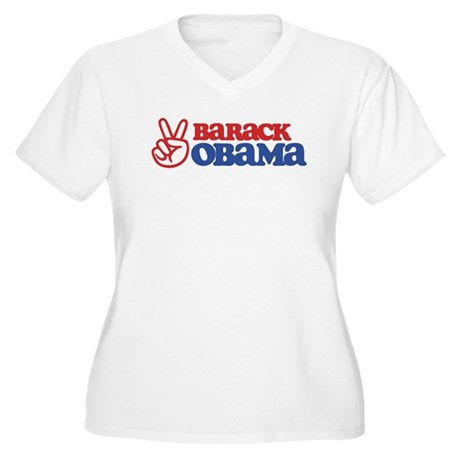 Barack Obama for Peace Women's Plus Size V-Neck T-