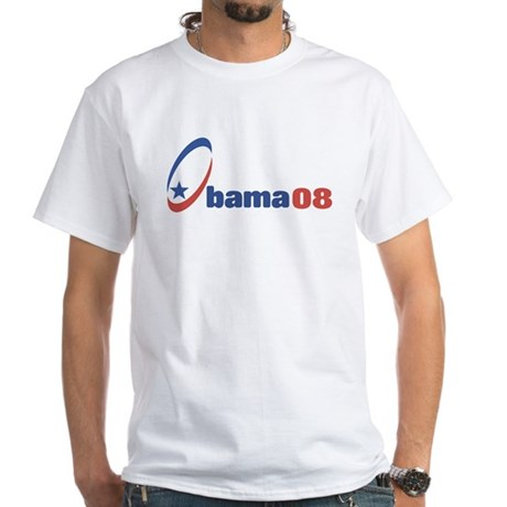 Obama 08 (circle-star) White T-Shirt