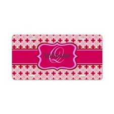 Girly Pink Floral Monogram Aluminum License Plate