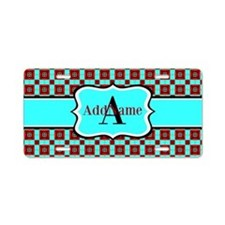 Red and Turquoise Custom Mo Aluminum License Plate