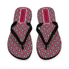 Black and Pink Custom Name Flip Flops