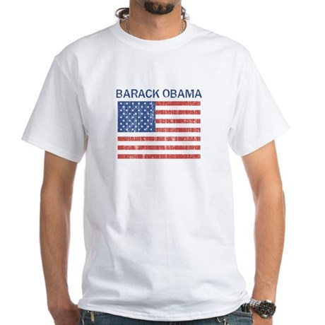 Barack Obama (Flag-Vintage) White T-Shirt