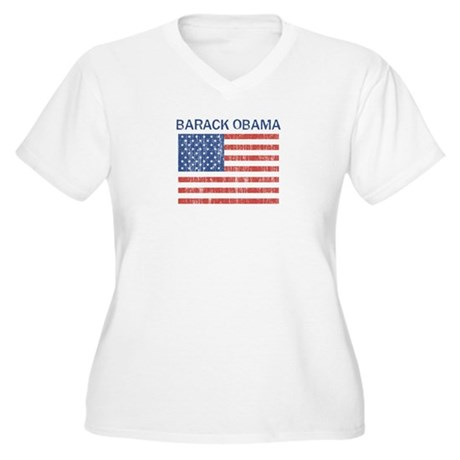 Barack Obama (Flag-Vintage) Women's Plus Size V-Ne