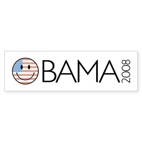 Obama (Smiley-flag) Bumper Sticker