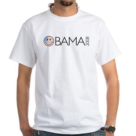 Obama (Smiley-flag) White T-Shirt