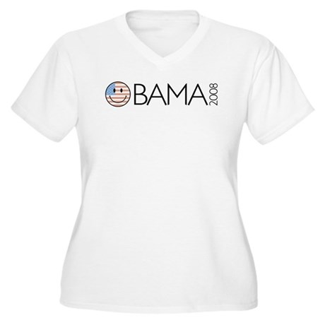Obama (Smiley-flag) Women's Plus Size V-Neck T-Shi