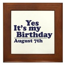 August 7 Birthday Framed Tile