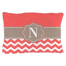 Coral Beige Chevron Monogram Pillow Case