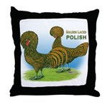 Golden Polish Fowl Throw Pillow