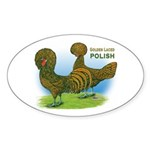 Golden Polish Fowl Oval Sticker