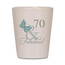 70th Birthday Butterfly Shot Glass
