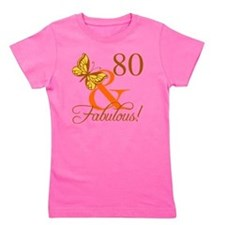 80th Birthday Butterfly Girl's Tee