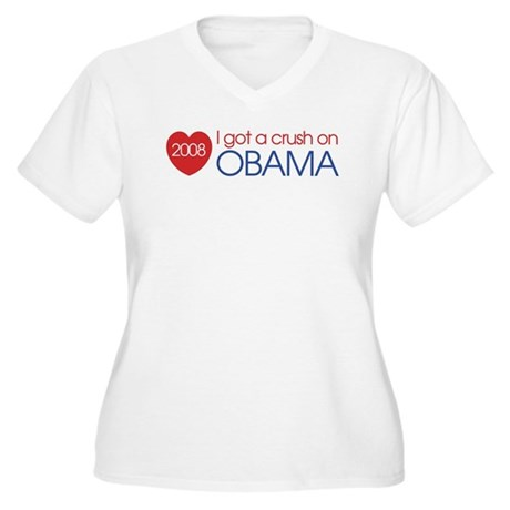I got a crush on obama (simpl Women's Plus Size V-
