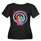 Surfs Up Women's Plus Size Scoop Neck Dark T-Shirt