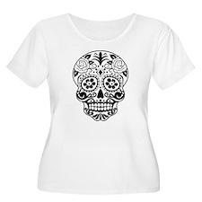 Sugar skull black and white Plus Size T-Shirt