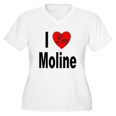 I Love Moline (Front) Women's Plus Size V-Neck T-S